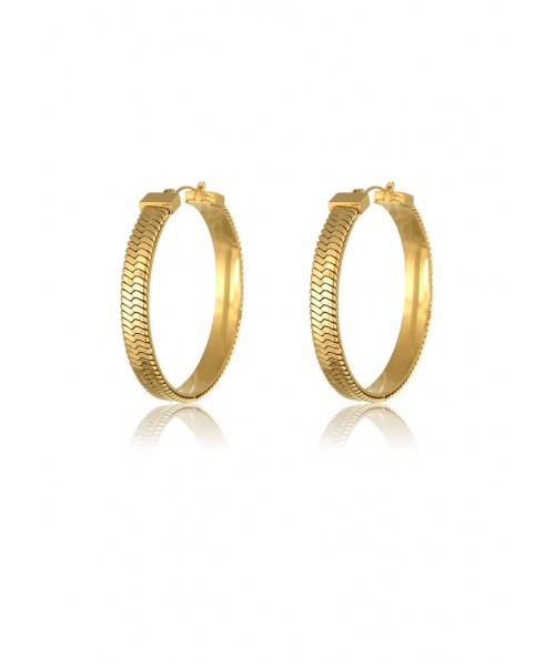 MÉRBABE - 24K DELILAH SNAKE CHAIN HOOP EARRINGS